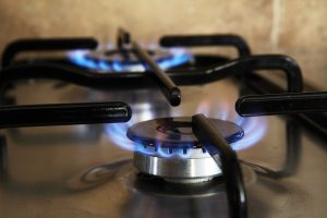 Natural gas burners on a stove