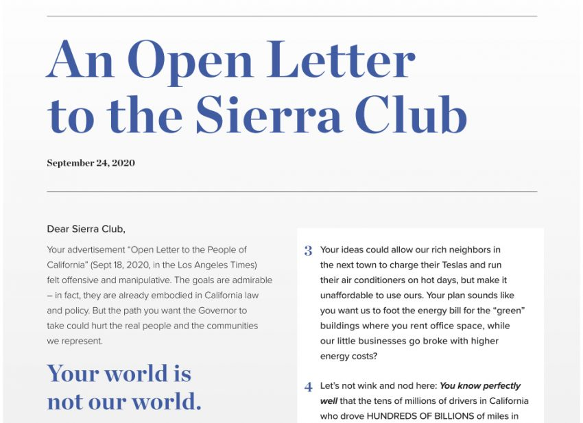 Open Letter to the Sierra Club