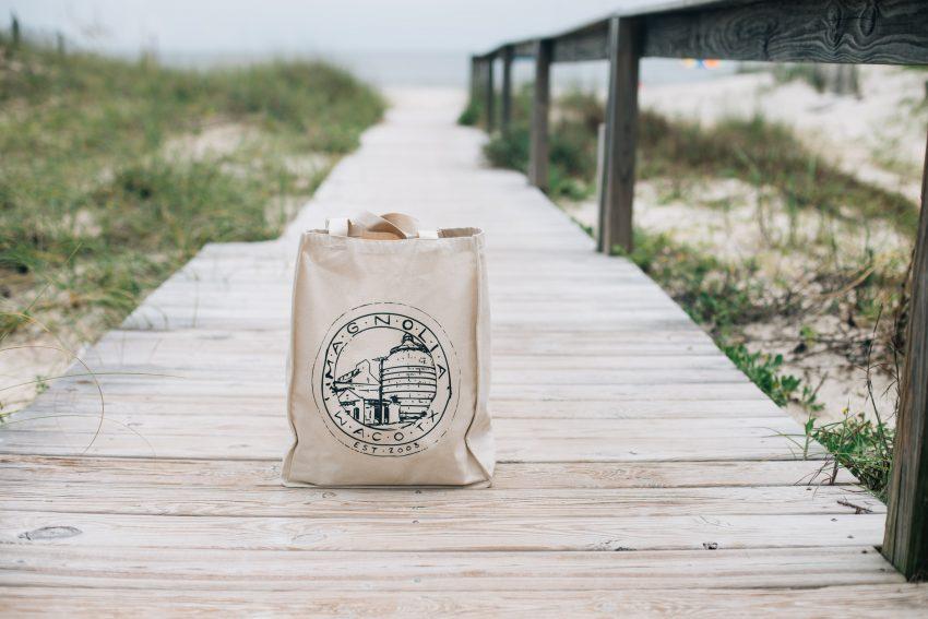 Cotton tote bag on beach
